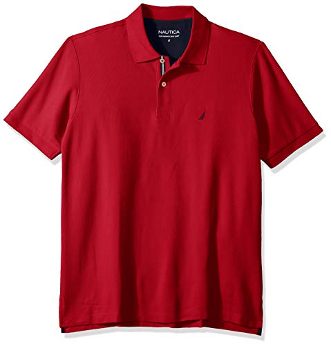 (Nautica Men's Big and Tall Classic Fit Short Sleeve Solid Performance Deck Polo Shirt, Red, 2XLT)