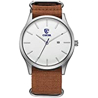 CUCOL Men's Watch with Date Analog Brown Nylon Band