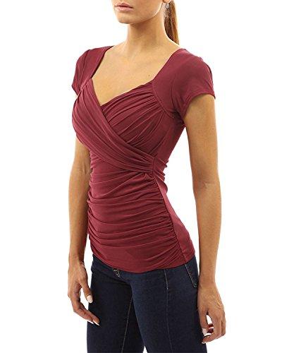 Gamiss Mujer Blusa Camisetas de Mangas Cortas Cuello en V Casual Verano Top T-shirt Deportiva Yoga rojo vino