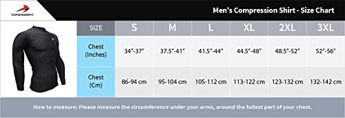 CompressionZ Men's Long Sleeve Compression Shirt Performance Base Layer for Fitness, Basketball, Gym, Sport Wear Cool Dry Running Shirt for Muscle Recovery Winter Thermal Underwear for Men
