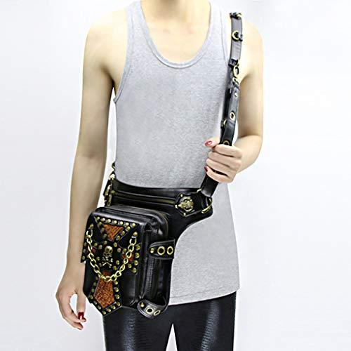 Organizer Steampunk con B Pelle gamba cellulare Portafogli sintetica Baosity Tracolla vita per rivetti HxHzgY