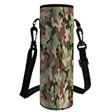 Water Bottle Sleeve Neoprene Bottle Cover,Camo,Illustrated Green Camouflage in Forest Colors Hunter Combat,Dried Rose Dark Green Army Green,Fit for Most of Water Bottles