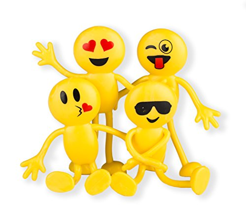 Emoji Party Favors – Fun Toys – Stocking Stuffers – 2 Dozen 3″ Emoji Smiley Face Emoticon Bendables Bulk pack of 24