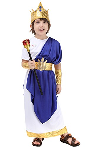 Poseidon Costumes For Adults (ROMASA Cosplay Children Costume Ancient Roman Poseidon Neptunus(9-10/135cm))
