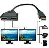 newpowerking 1080P HDMI Port Male to 2 Female 1 In 2 Out Splitter Cable Adapter Converter