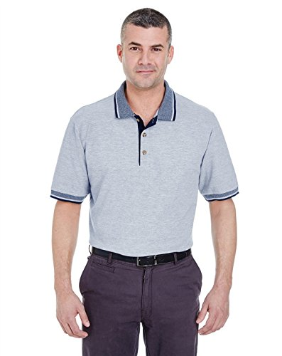 UltraClub 8537 Color-Body Classic Pique With Striped Collar Polo Heather/Navy XX-Large
