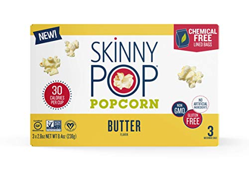 SkinnyPop Microwave Butter Popcorn Bags, Healthy Snacks, 8.4oz Microwavable Bags (Pack of 36)
