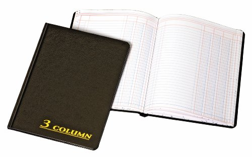 Adams Account Book, 7 x 9.25 Inches, Black, 3-Columns, 80 Pages (Accounting Ledger Book)