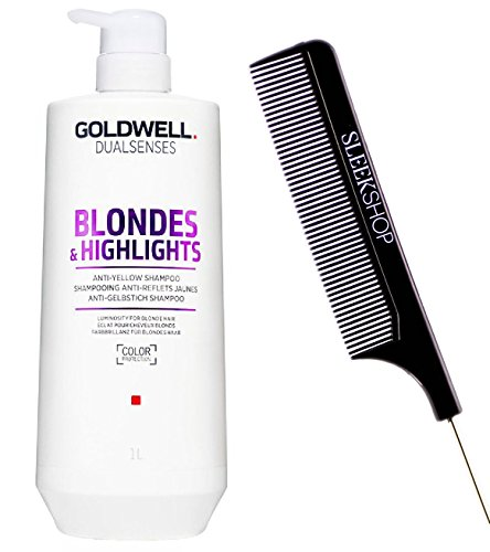 Goldwell Dualsenses Blondes And Highlights Anti-Yellow Shampoo (with Sleek Steel Pin Tail Comb) (33.2 oz / 1000ml) (Blonde Shampoo Goldwell)