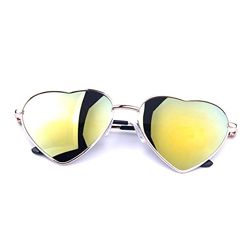 KELOAE Moleng Heart Sunglasses Thin Metal Frame Lovely Aviator Style for Women - Backpacking Sunglasses