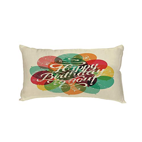 iPrint Polyester Car Neck Pillow,Birthday Decorations,Typographical Retro Grunge Birthday Card Inspired Vintage Balloons,Multicolor,13.7x7.8Inches,for Car Designed,Travel Car Seat & -