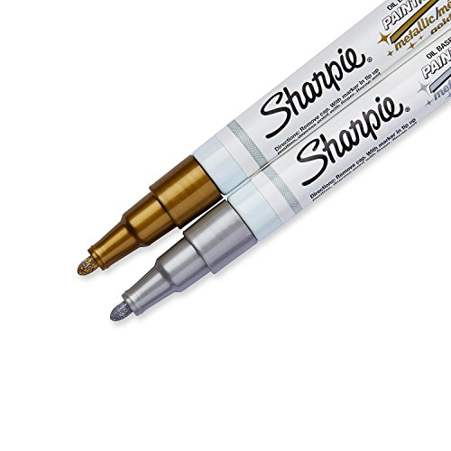 Sharpie Oil-Based Paint Markers, Extra Fine Point, Assorted Metallic, 2 Count - Great for Rock Painting