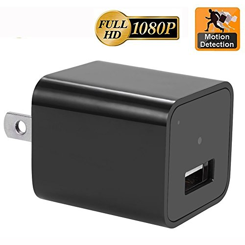 Motion Detection AC Wall Plug Adapter, 1080P HD USB Wall Charger Hidden Spy Wall...