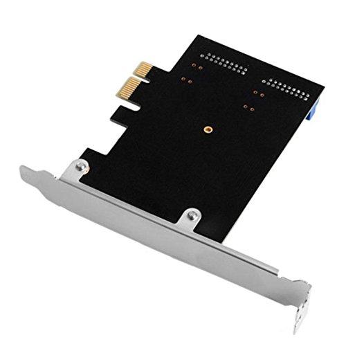 flache Halterung Calistouk PCI Express auf Dual 20-poligen USB 3.0 PCI-e X1 auf 2 Ports 19-poligen USB 3.0 Header Support