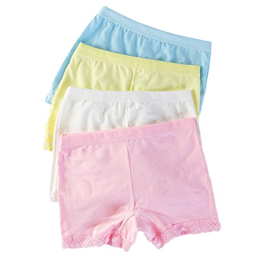 (Girl's 4 Pack Soft Cotton Boyshort Panties Underwear (4-6 years, A))