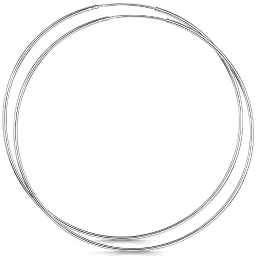 Amberta 925 Sterling Silver Fine Circle Endless Hoops - Polished Round Sleeper Earrings Diameter Size: 20 30 40 60 80 mm (80mm) by Amberta