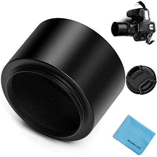 72mm Tele Metal Screw-in Lens Hood Sunshade with Centre Pinch Lens Cap for Canon Nikon Sony Pentax Olympus Fuji Sumsung Leica Camera + Cleaning Cloth
