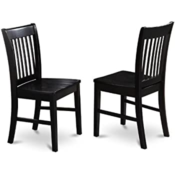 East West Furniture NFC BLK W Dining Chair Set With Wood Seat, Black  Finish, Set Of 2