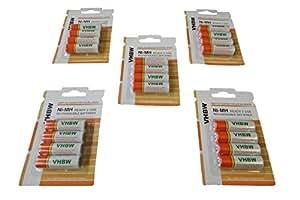 Pilas / baterías recargables vhbw 20 x AA, Mignon, HR6, LR6 2000mAh para Panasonic Lumix DMC-LC20, DMC-LC33, DMC-LC43, DMC-LC50, DMC-LC70, DMC-LC80
