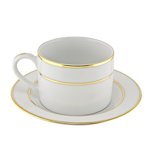 10 Strawberry Street Double Gold Line 6 Oz Can Cup and Saucer, Set of 6, White Gold