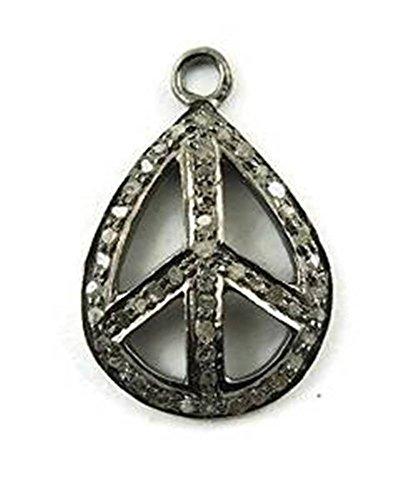 1 Piece Pave Diamond 925 Sterling Silver Charm Pendant 25MMX17MM DC042