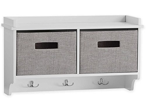 Real Simple Stylish Wall Mount Unit in White with Grey Linen Bins by Real Simple