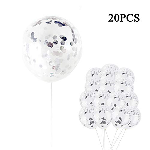 Coxeer 20PCS 12In Silver Confetti Balloons Premium Latex Party Balloons Filled Round Silver Mylar Foil Dot Confetti Birthday, Wedding, Proposal