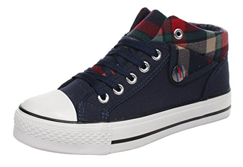 T&Mates Women's High Top Lace-up Casual Shoes(7 B(M)US,Blue)