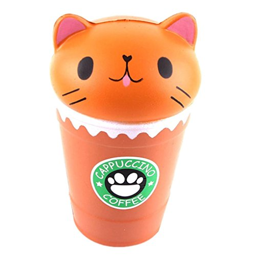 Yalasga Cut Coffee Cup Cat Scented Jumbo Slow Rising Squishy Toy Stress Reliever 14cm (Coffee)
