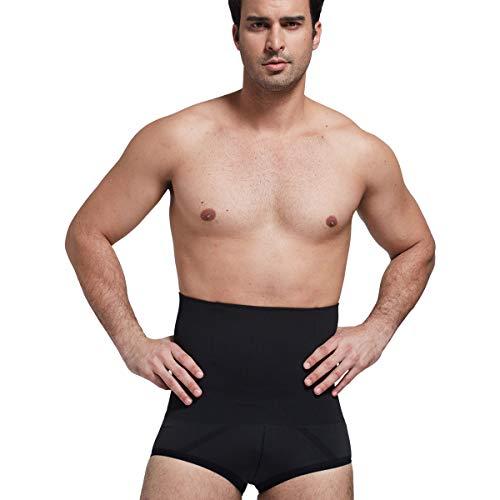 Panegy Men's Hi-Waist Body Slimmer Briefs Waist Trainer Tummy Control Shapewear (X-Large, Black)
