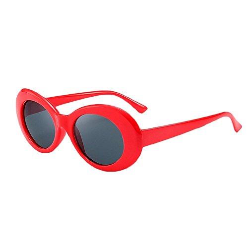 Bold Retro Clout Goggles Oval Round Kurt Cobain Sunglasses (Red, - Cobain Kurt Clout Goggles