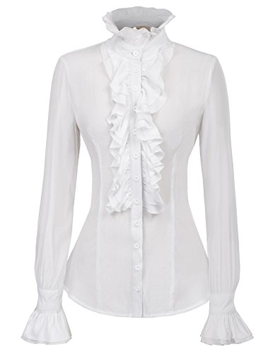 (Women Victorian Gothic Lotus Ruffle Tee Shirts Blouse Stand-up Collar)