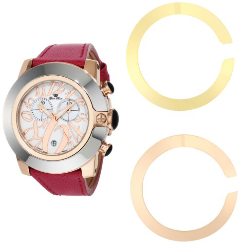 Glam Rock Women's GR32109 SoBe Chronograph White Dial Fuschia Saffiano Leather Watch