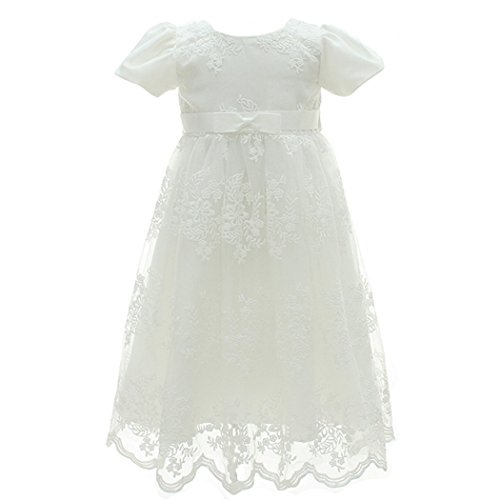 Coozy Baby Girl Dress Flower Christening Baptism Gown Formal Party Special Occasion Dresses For Toddler/Infant (Ivory, 6M/6-12months)