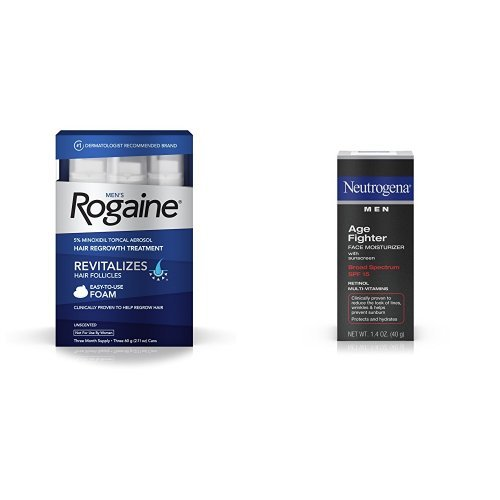 Price comparison product image Men's Rogaine Hair Loss & Hair Thinning Treatment Minoxidil Foam and Age Fighter Face Moisturizer With Sunscreen Broad Spectrum Spf 15