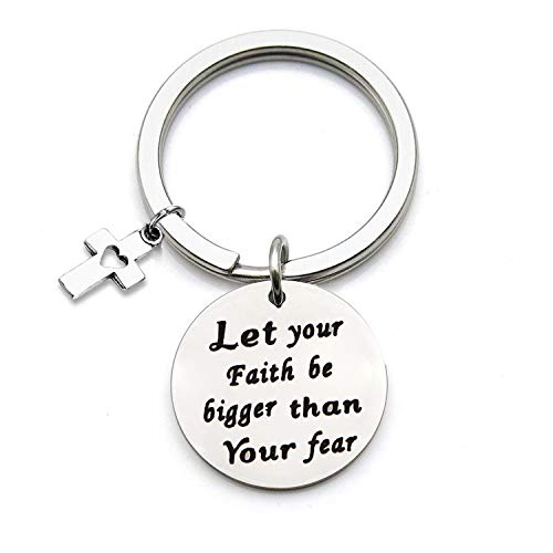 QIIER Let Your Faith Be Bigger Than Your Fear Keychain with Cross Charm Christian Jewelry Faith Jewelry Inspirational Gift (Silver) ()