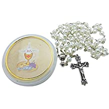 Girls First Holy Communion Rosary Set White Glass Bead Rosary in a Plastic Case