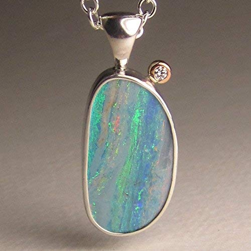 Australian Boulder Opal - Australian Boulder Opal Pendant in 14k Rose Gold and Sterling Silver