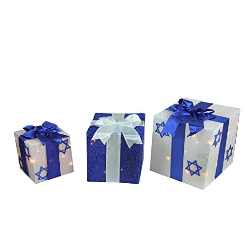 Northlight ZG15678 3-Piece Lighted White and Blue Gift Box Hanukkah Outdoor Decoration -