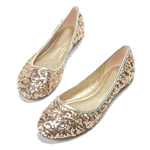 (Awmerny Boots Womens Gliiter Sequined Flats Ladies Ballerina Flat Shoes New gold1 7)