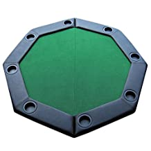 Brybelly GPTT-101 Folding Octagon Poker Table Top with Cup Holders and Padded Rail (Green, 48-Inch)