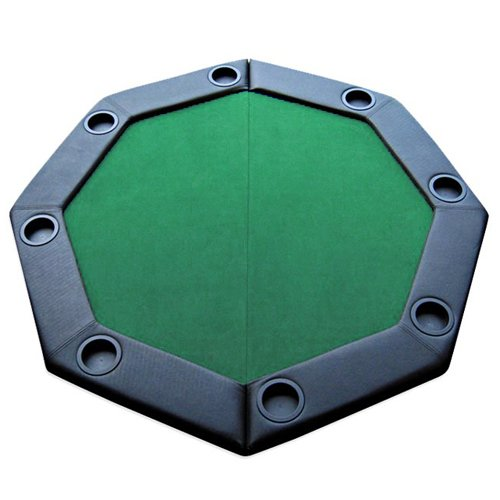 """48"""" Green Folding Octagon Poker Table Top w/ Cup Holders & Padded Rail by Brybelly"""