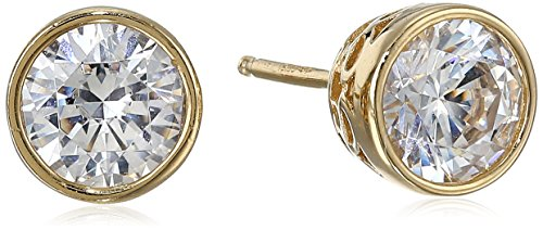 - Yellow Gold Plated Sterling Silver Bezel Stud Earrings set with Swarovski Zirconia (2 cttw)