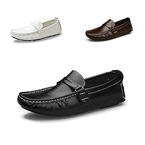 DRON TOOON Casual Men's Genuine Leather Penny Loafers Driving Moccasins Slip-On Boat Flats Driving Shoes (11, Black 1) ()