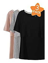 Smallshow 3 Pcs Maternity Nursing T-shirt Modal Short Sleeve Nursing Tops