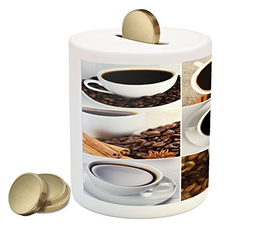 Modern Almond - Ambesonne Kitchen Piggy Bank, Coffee Mugs Collage with Almonds Cashews Beans Cinnamon Modern Composition, Printed Ceramic Coin Bank Money Box for Cash Saving, White Black Brown