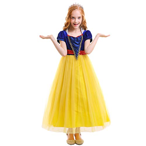 (FYMNSI Girls Snow White Halloween Costume Fairytale Princess Dress Up Cosplay Party Ball Evening Gown Yellow)