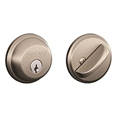 The Schlage Single Cylinder Deadbolt in Satin Nickel is perfect for use on exterior doors and adds an extra layer of security to your exterior handleset or knob/lever. When finished in Satin Nickel, the deadbolt offers a tasteful and flatteri...