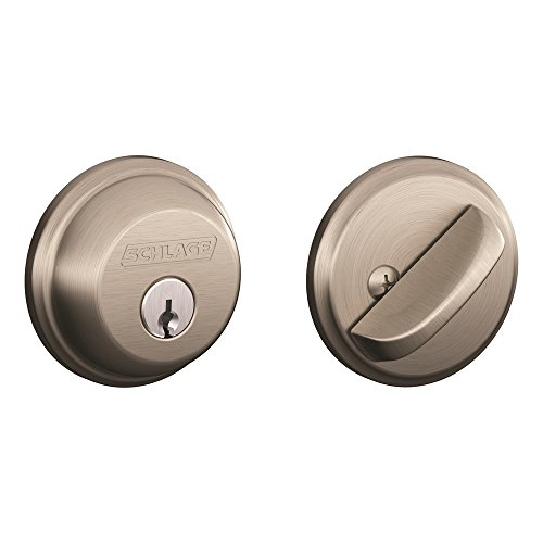 Schlage B60N 619 Single Cylinder Satin Nickel Deadbolt