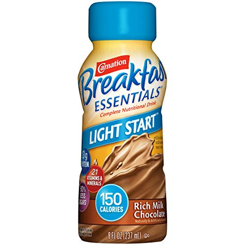 Carnation Breakfast Essentials Light Start Ready-to-Drink, Rich Milk Chocolate, 8 Ounce Bottle (Pack of 24)